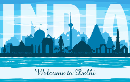 Delhi India city skyline vector silhouette illustration