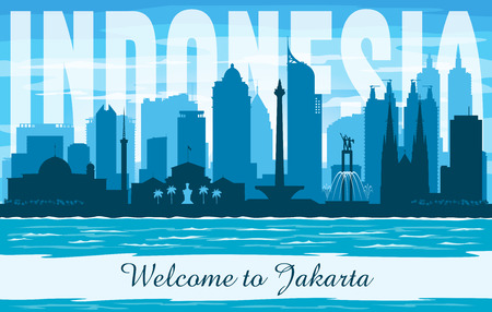 Jakarta Indonesia city skyline vector silhouette illustration Illustration