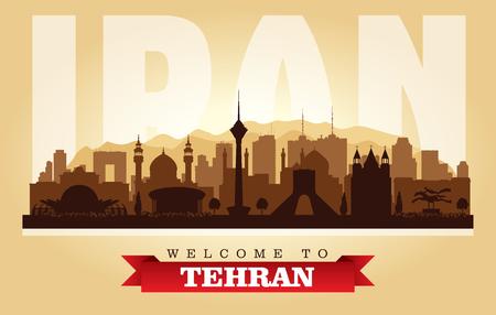 Tehran Iran city skyline vector silhouette illustration Иллюстрация