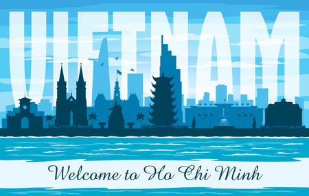 Ho Chi Minh Vietnam city skyline vector silhouette illustration