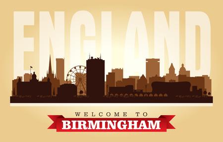 Birmingham United Kingdom city skyline vector silhouette illustration