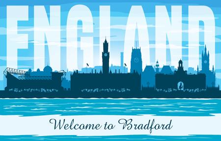 Bradford United Kingdom city skyline vector silhouette illustration Иллюстрация