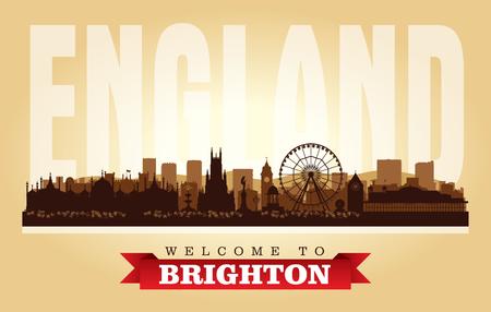 Brighton United Kingdom city skyline vector silhouette illustration
