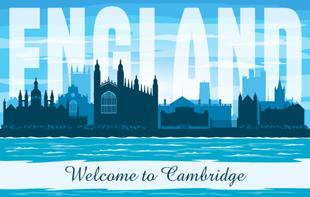 Cambridge United Kingdom city skyline vector silhouette illustration