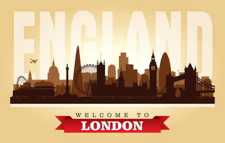 London United Kingdom city skyline vector silhouette illustration