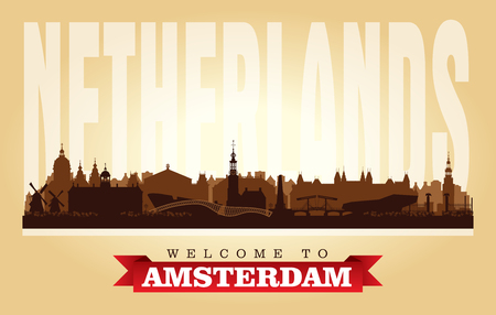 Amsterdam Netherlands city skyline vector silhouette illustration