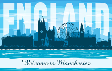 Manchester United Kingdom city skyline vector silhouette illustration