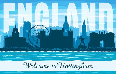 Nottingham United Kingdom city skyline vector silhouette illustration Иллюстрация