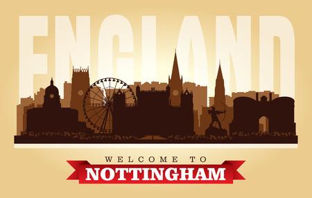 Nottingham United Kingdom city skyline vector silhouette illustration