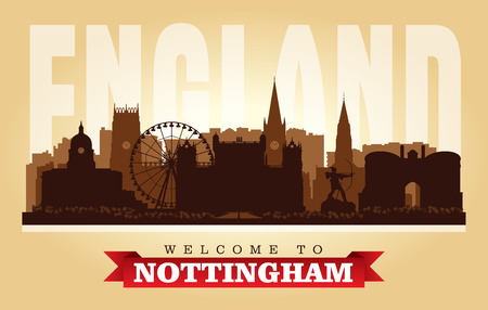 Nottingham United Kingdom city skyline vector silhouette illustration Illustration