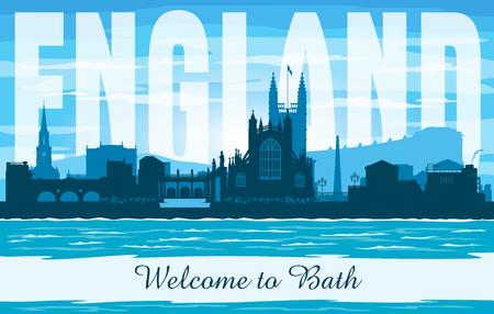 Bath United Kingdom city skyline vector silhouette illustration Illusztráció