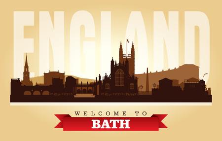 Bath United Kingdom city skyline vector silhouette illustration Иллюстрация