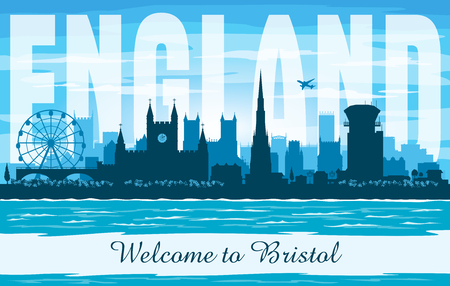 Bristol United Kingdom city skyline vector silhouette illustration  イラスト・ベクター素材
