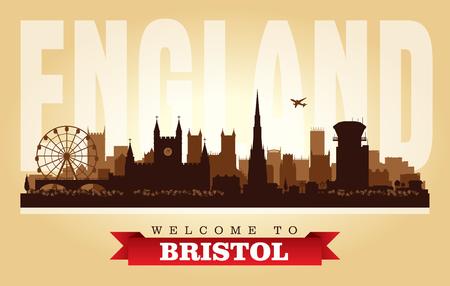 Bristol United Kingdom city skyline vector silhouette illustration Иллюстрация