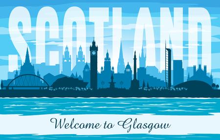 Glasgow Scotland United Kingdom city skyline vector silhouette illustration