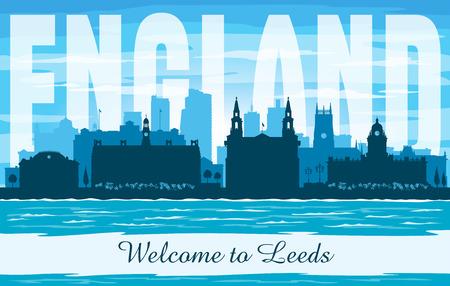 Leeds United Kingdom city skyline vector silhouette illustration Иллюстрация