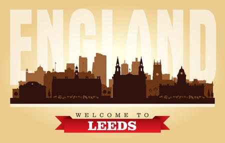 Leeds United Kingdom city skyline vector silhouette illustration Illustration