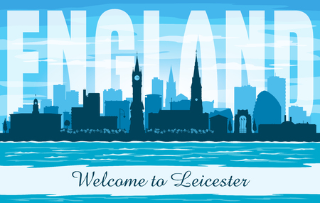 Leicester United Kingdom city skyline vector silhouette illustration