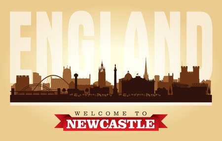 Newcastle United Kingdom city skyline vector silhouette illustration