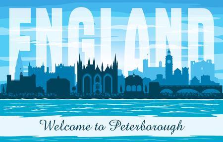 Peterborough United Kingdom city skyline vector silhouette illustration