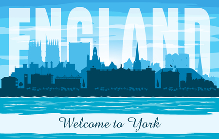 York United Kingdom city skyline vector silhouette illustration