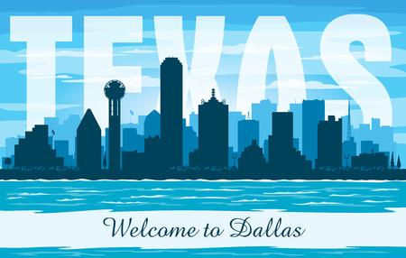 Dallas Texas city skyline vector silhouette illustration