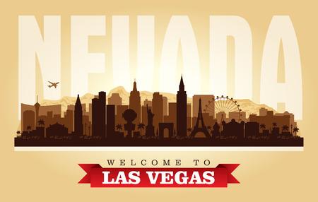 Las Vegas Nevada city skyline vector silhouette illustration Иллюстрация
