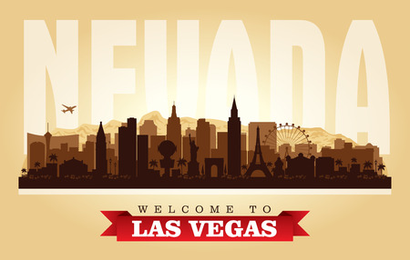 Las Vegas Nevada city skyline vector silhouette illustration Illustration