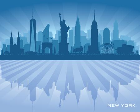 New York city skyline vector silhouette illustration