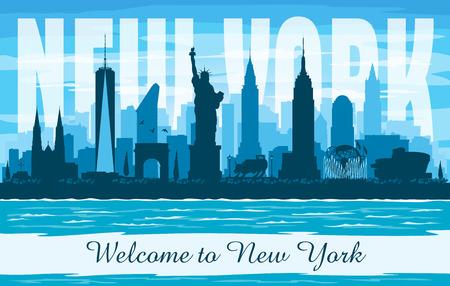 New York USA city skyline vector silhouette illustration Иллюстрация