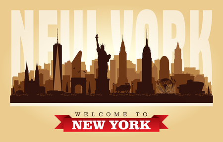 New York USA city skyline vector silhouette illustration Illustration