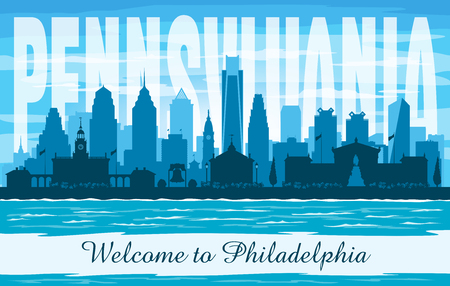 Philadelphia Pennsylvania city skyline vector silhouette illustration