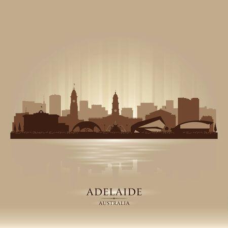Adelaide Australia city skyline vector silhouette illustration