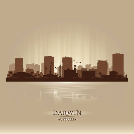 Darwin Australia city skyline vector silhouette illustration  イラスト・ベクター素材