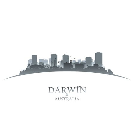 Darwin Australia city skyline silhouette. Vector illustration