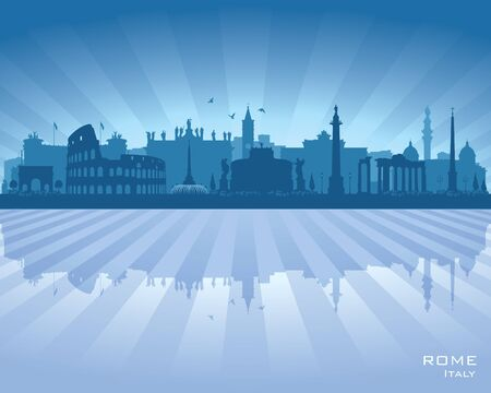 Rome Italy city skyline vector silhouette illustration
