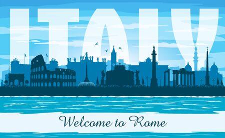 Rome Italy city skyline vector silhouette illustration Stock fotó - 149901106