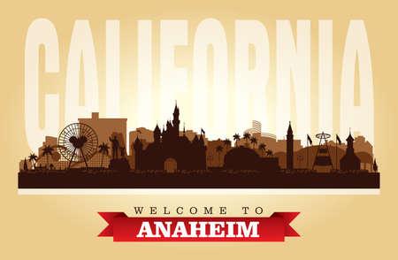 Anaheim California city skyline vector silhouette illustration