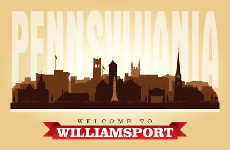 Williamsport Pennsylvania city skyline vector silhouette illustration