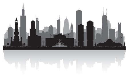 Chicago Illinois city skyline vector silhouette illustration