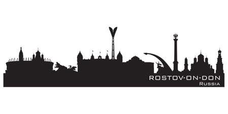 Rostov-on-Don Russia skyline Detailed vector silhouette