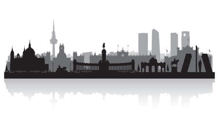 Madrid Spain city skyline vector silhouette illustration Vetores