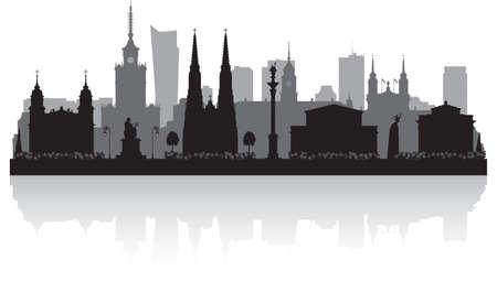 Warsaw Poland city skyline vector silhouette illustration Ilustración de vector