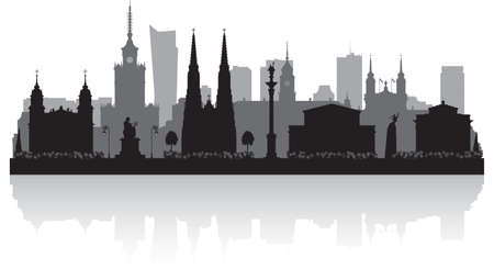 Warsaw Poland city skyline vector silhouette illustration Vektorové ilustrace