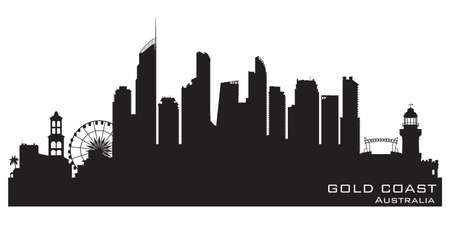 Gold Coast Australia skyline Detailed vector silhouette