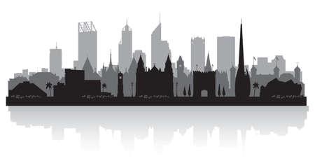 Perth Australia city skyline vector silhouette illustration Vektorové ilustrace