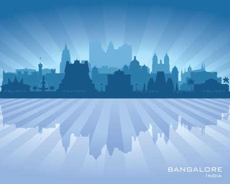 Bangalore India city skyline vector silhouette illustration