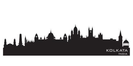 Kolkata India city skyline Detailed vector silhouette Vetores