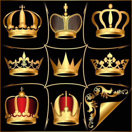 illustration set gold(en) crowns on black background Stock Vector - 9790216