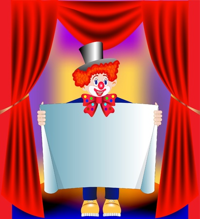 illustration young amusing clown with paper on background of the curtain Vector